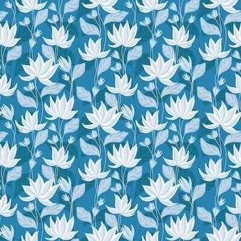 Niebieski wzór lilii wodnej