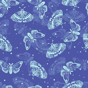 Niebieski wzór pięknych motyli. owady wzór. ilustracja wektorowa