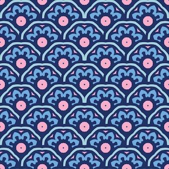 Niebieski wzór płytki abstarct tła. streszczenie doodle rocznika tekstury
