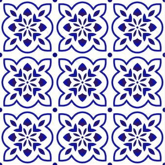 Niebieski wzór płytki