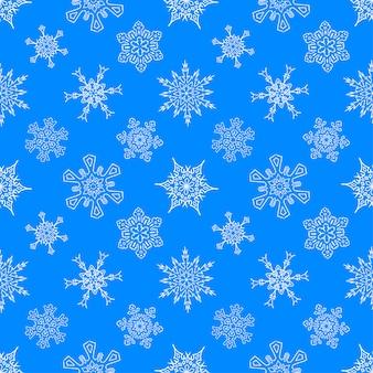 Niebieski wzór z ciągnione płatki śniegu