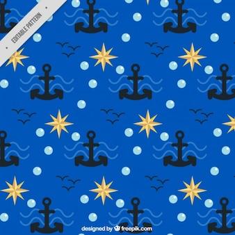 Niebieski wzór z kotwice morskie