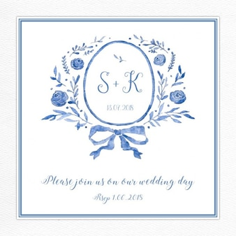 Niebieski zaproszenia ślubne z logiem