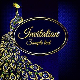 Niebieski zaproszenie na ślub lub karty z pawia