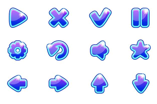 Niebieski zestaw szklanych przycisków do interfejsu użytkownika