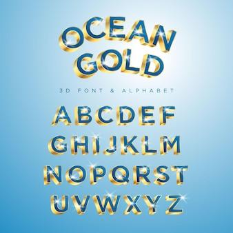 Niebieski zestaw typu ocean gold styl nowoczesny ozdobny alfabet czcionki i cyfry