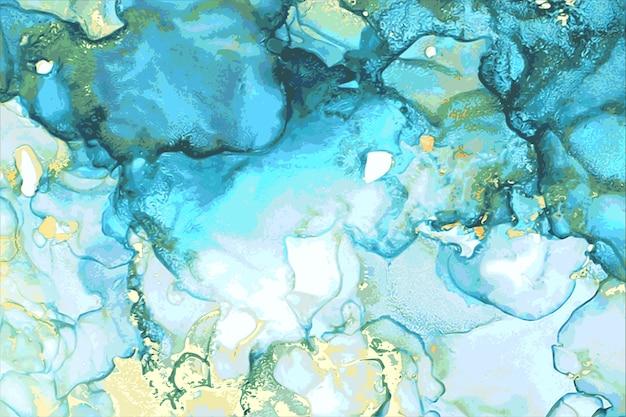 Niebieski, zielony i złoty abstrakcyjny marmur tekstury kamienia w technice tuszu alkoholowego z brokatem.