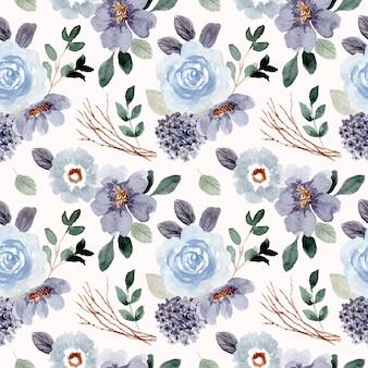Niebieski zielony kwiat akwarela bezszwowe wzór