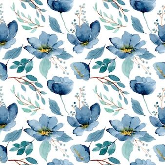 Niebieski zielony kwiatowy akwarela bezszwowe wzór