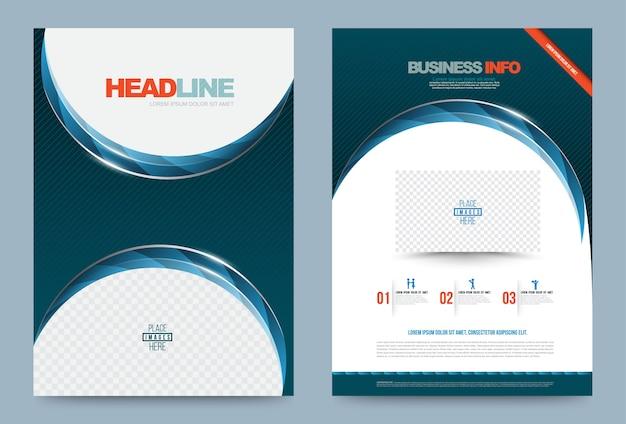 Niebieski zielony roczny raport broszura ulotki szablon projektu