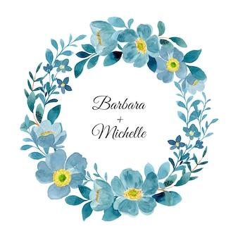 Niebieski zielony wieniec kwiatowy z akwarelą