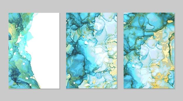 Niebieski zielony złoty marmur malarstwo abstrakcyjne w technice tuszu alkoholowego