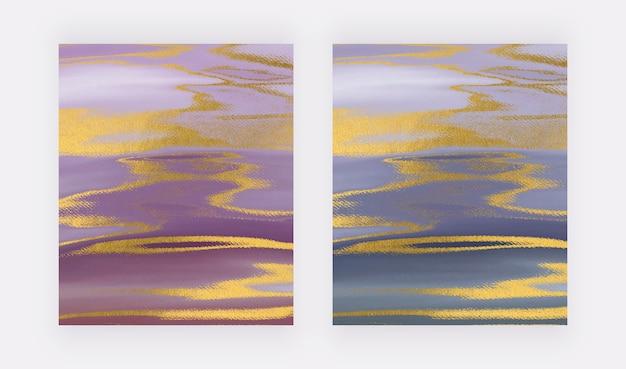 Niebieski, złoty i różowy pociągnięcie pędzlem akwarela