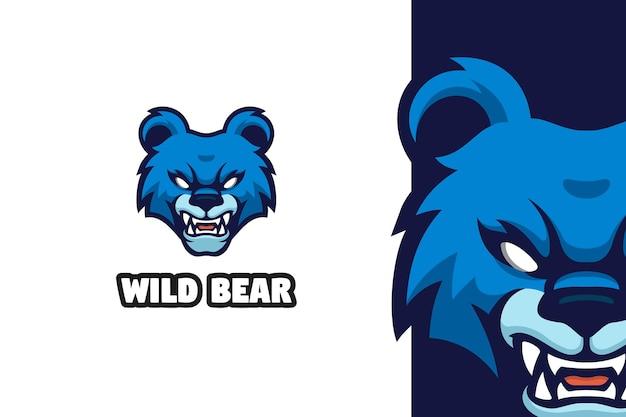 Niebieski zły niedźwiedź maskotka ilustracja logo