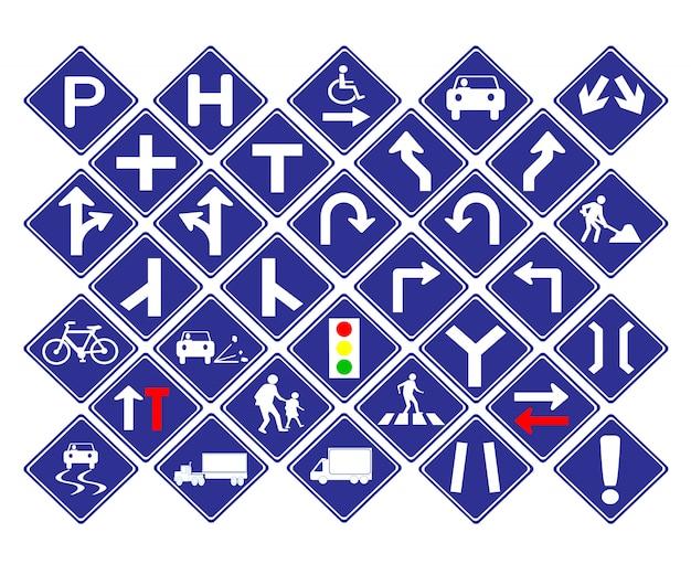 Niebieski znak drogowy kształt diamentu ruchu