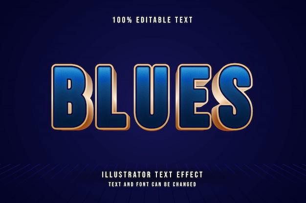Niebieskie, 3d edytowalny tekst efekt niebieskiej gradacji nowoczesny styl cienia