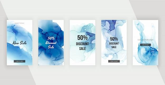 Niebieskie atramenty alkoholowe historie mediów społecznościowych banery. nowoczesny design