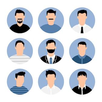 Niebieskie awatary mężczyzn.