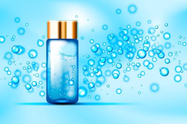 Niebieskie bąbelki i szklana butelka perfum na abstrakcyjnej przestrzeni