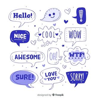 Niebieskie balony mowy z różnymi wyrażeniami