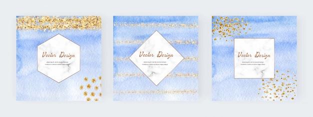 Niebieskie banery akwarela z fakturą złotego brokatu, konfetti i geometrycznymi marmurowymi ramkami. nowoczesny projekt okładki streszczenie.