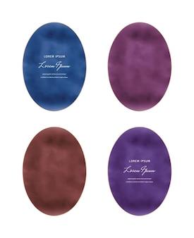 Niebieskie, bordowe, czerwone i fioletowe owalne ramki akwarela