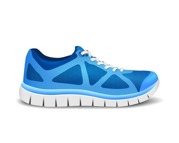 Niebieskie buty sportowe do biegania.