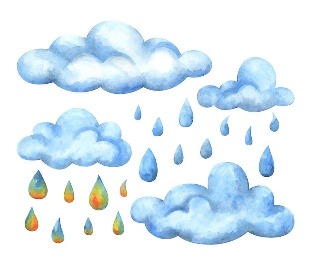 Niebieskie chmury i wielobarwne krople deszczu. zestaw ilustracji