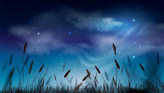 Niebieskie ciemne nocne niebo z dużą ilością błyszczących gwiazd, chmury naturalne tło nad polem trawy. projekt tła nocnego nieba. ilustracja.