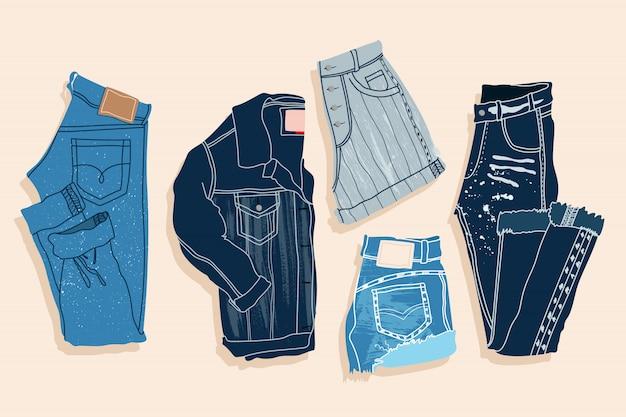 Niebieskie dżinsowe szorty, spodnie i kurtka.