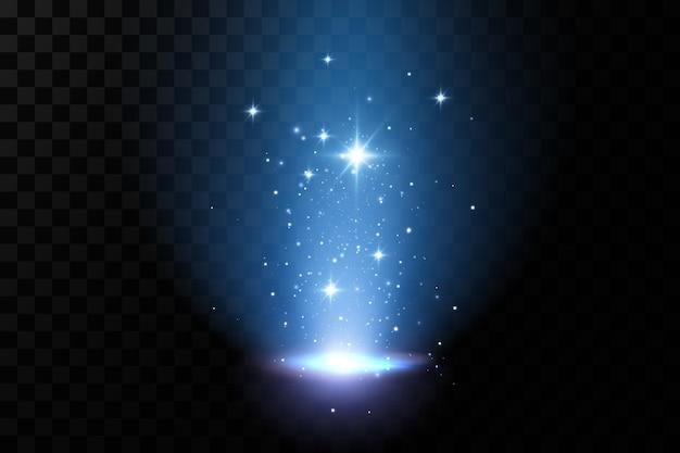 Niebieskie efekty świetlne. neonowe magiczne światło, podświetlany wektor.