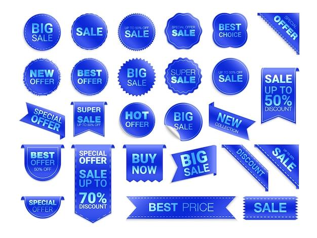 Niebieskie etykiety na białym tle. promocja wyprzedaży, naklejki na stronę internetową, nowa kolekcja znaczków ofertowych zniżki płaskie odznaki i tagi. tagi najlepszego wyboru.