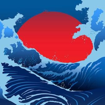 Niebieskie fale i czerwone słońce w stylu japońskim