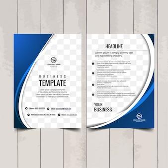 Niebieskie faliste broszura szablon