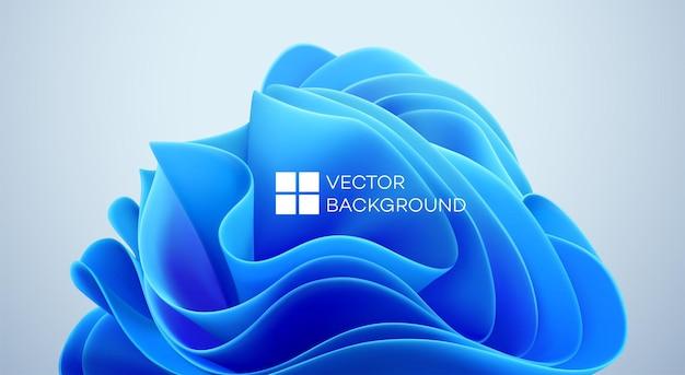 Niebieskie faliste kształty na czarnym tle. 3d modne nowoczesne tło. abstrakcyjny kształt fal niebieskich. ilustracja wektorowa eps10