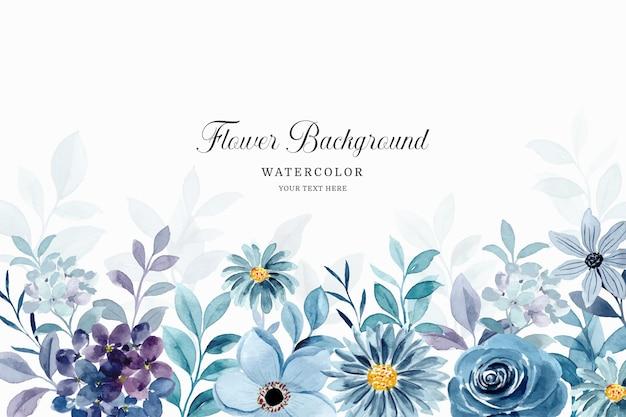 Niebieskie fioletowe akwarela kwiatowy tło
