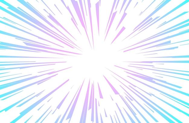 Niebieskie fioletowe tło komiksów promieni w stylu pop-art