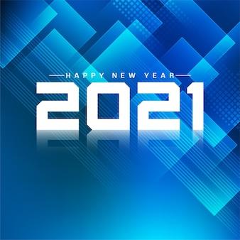 Niebieskie geometryczne szczęśliwego nowego roku 2021