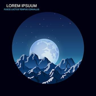 Niebieskie góry nocy tło wektor ilustracja w stylu retro