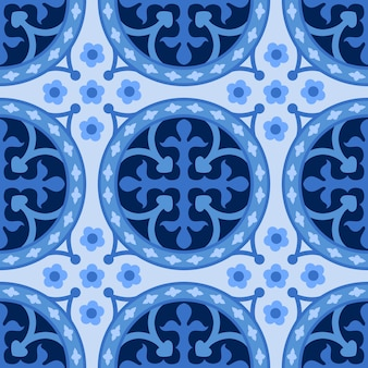 Niebieskie i białe adamaszku kwiatowy wzór tła.