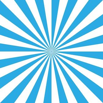 Niebieskie i białe retro sunburst tło.