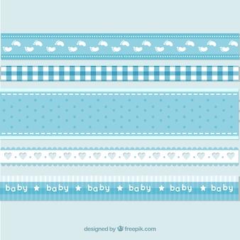 Niebieskie i białe wstążki niemowlęce