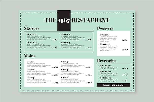 Niebieskie i białe zdrowe menu restauracji