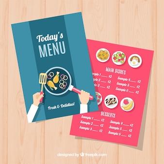 Niebieskie i czerwone menu restauracji