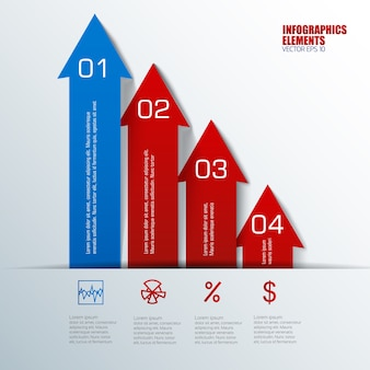 Niebieskie i czerwone pionowe strzałki z elementami biznesowymi infografiki uporządkowanych pól tekstowych