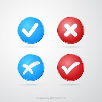 Niebieskie i czerwone znaczniki wyboru