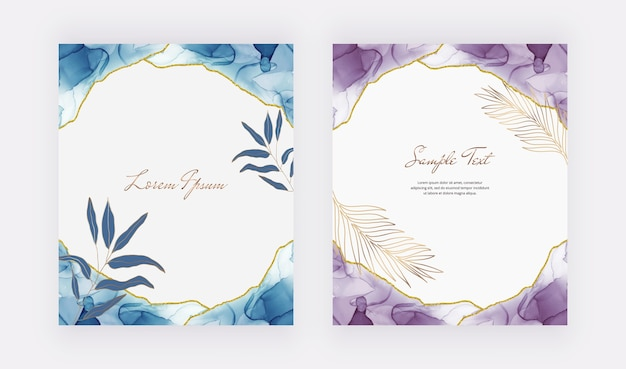 Niebieskie i fioletowe karty z tuszem alkoholowym