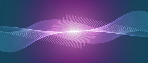 Niebieskie i fioletowe światło technologia fala projektowanie sieci cyfrowej tło wektor komunikacja