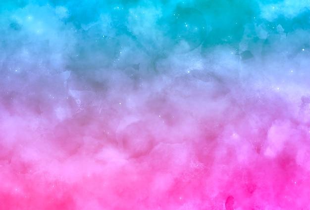 Niebieskie i różowe oniryczne tło akwarela