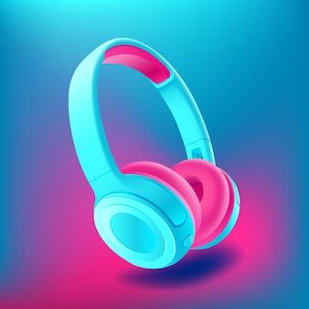 Niebieskie i różowe słuchawki na białym tle na niebieskim tle, realistyczne.
